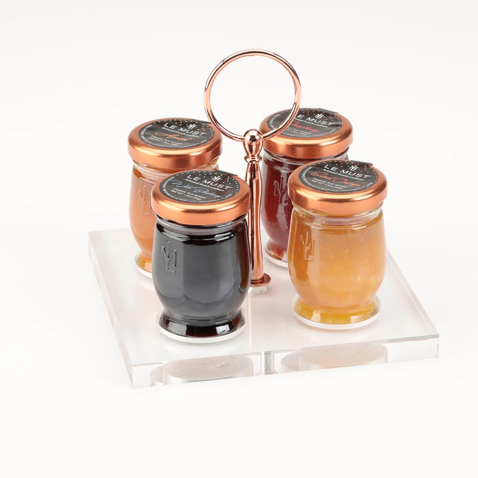 Le Must Carre Preserves and Honey Presentoir Display with Copper Handle for in room dining Top