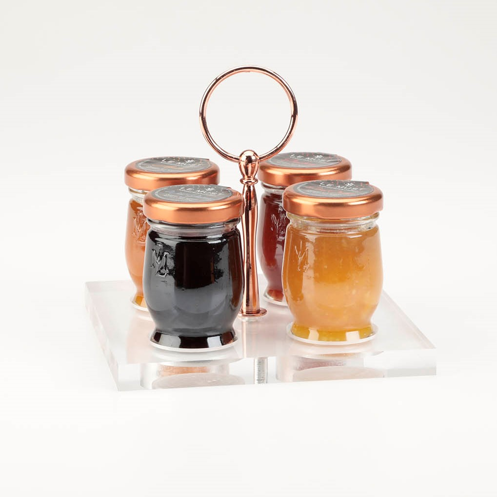 Le Must Carre Preserves and Honey Presentoir Display with Copper Handle for in room dining