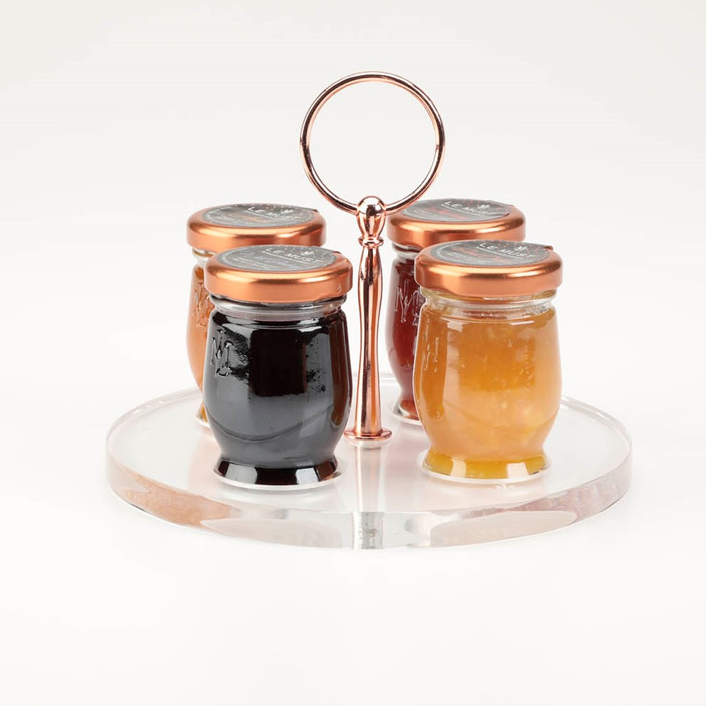 Le Must Cercle Preserves and Honey Presentoir Display with Copper Handle for in room dining